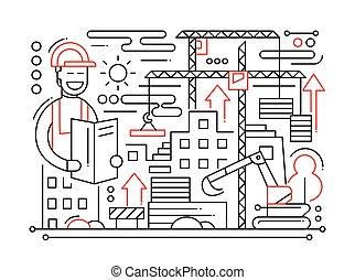 Construction Site - line design composition - Construction...
