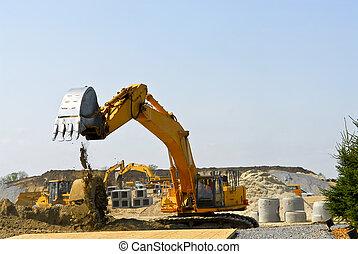 Construction site machines - Yellow bulldozer machines...