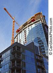 Construction site, new complexes skyscrapers, Portland Oregon.