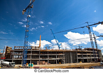 Construction site of football stadium in Wroclaw. ...