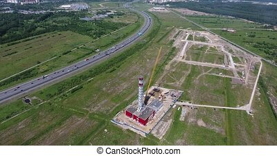 Construction site of gas power plant. Aerial shot -...