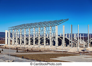 Construction site of the new football stadium building