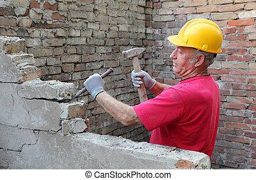 Construction site, old building demolishing