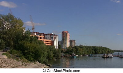 Construction site on a river bank in Russia