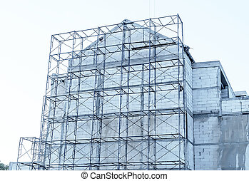 Construction site on sky white background