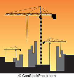 Construction site on sunset. - Large construction site with...