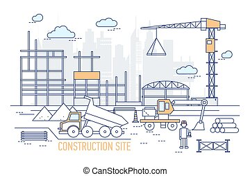 Construction site or area with constructed building, crane, excavator, dump truck, engineer wearing hard hat against silhouettes of skyscrapers on background. Vector illustration in line art style.