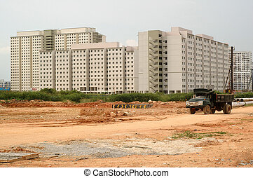 Construction Site - A truck carried soil and rocks at...