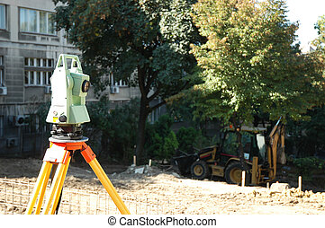 Construction site - Geodetic instrument used for...