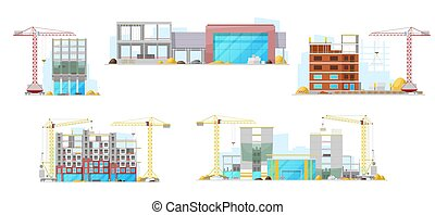 Construction site, residential houses building