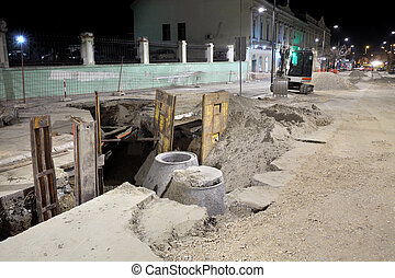 Construction site, sewerage in city - Hydro construction...