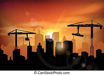 Construction site silhouette - Illustration of Construction...