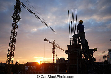 construction site - silhouette of the building construction ...