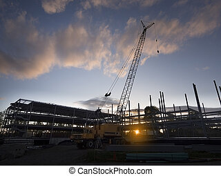 Construction site silhouette - Construction site at sunset...