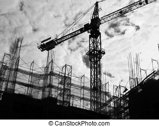 Construction Site Silhouette - -- with crane and scaffolding
