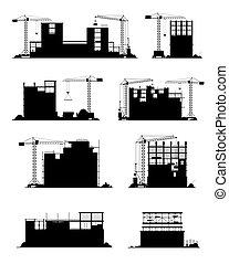 Construction site silhouettes, building, equipment