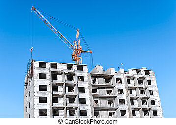 Construction Site silhouettes on background blue sky