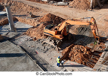 Construction Site - Construction site with excavating...