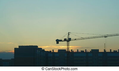 Construction site - View of construction site at dusk....