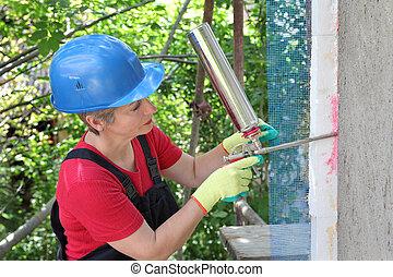 Construction site, styrofoam insulation
