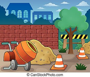 Construction site theme image 1 - eps10 vector illustration.