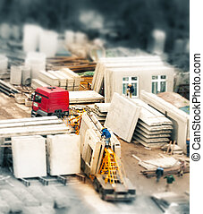 construction site, tilt-shift