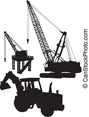 Construction site - Vector silhouettes of Construction ...