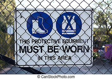 Construction site warning sign protective equipment