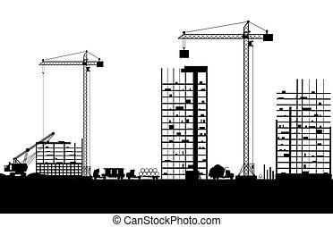 Construction site with buildings and cranes. skyscraper...