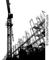 Construction Site with Crane and Scaffolding