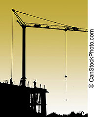 Construction site with crane and workers. Set concrete and formwork