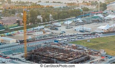Construction site with crane at Dubai Marina timelapse....