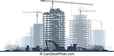 Construction site with crane.