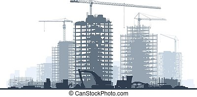 Construction site with crane. - Line of silhouettes...
