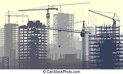 Construction site with cranes - Horizontal vector ...