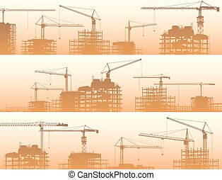 Construction site with cranes. - Vector horizontal banner of...