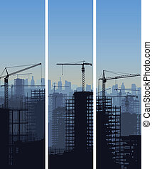 Construction site with cranes.