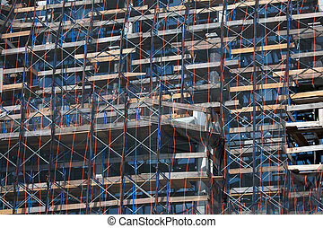 Construction site with safety nettting in Brooklyn, New York