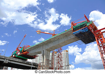 Construction site with Tower Crane and Blue Sky