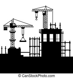 Construction Site with Tower Cranes. Vector