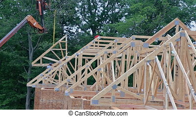 Construction Site Wood Home Framing at Building frame