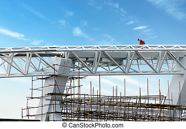 Construction site worker - Steel roof construction sites, ...