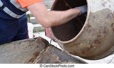 Construction Site, Worker Wash Concrete Mixer. - ...