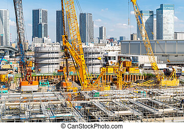 Construction site working in Japan