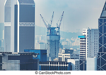 Construction sites in urban city