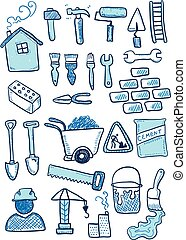 Construction sketch. Hand-drawn cartoon industry icon set. Doodle drawing.