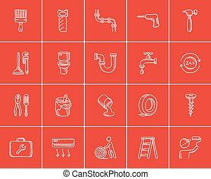 Construction sketch icon set.