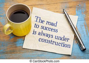 construction, sous, route, reussite, always