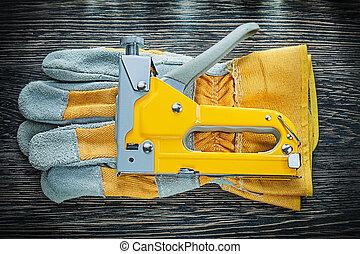 Construction staple gun pair of safety gloves