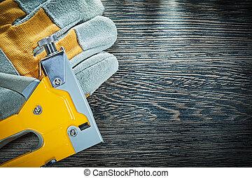 Construction staple gun protective gloves.
